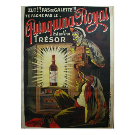 Poster a base de vino francés original de los postal