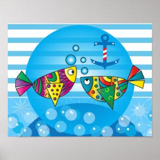 Póster A pescado colorido abstracto