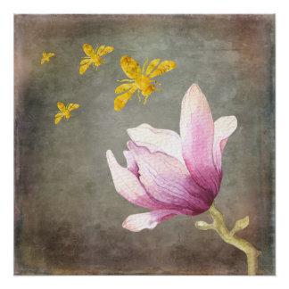 Póster Abejas de la flor y del oro de la acuarela