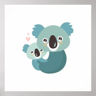 Póster Abrazo dulce de la madre y del bebé de la koala