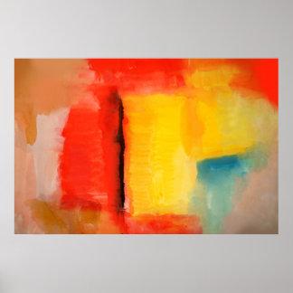 Poster abstracto amarillo rojo moderno del arte de