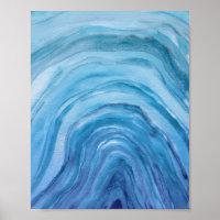 Abstracto de Indigo Blue Agate II Watercolor Art
