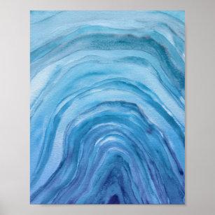 Póster Abstracto de Indigo Blue Agate II Watercolor Art