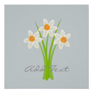Poster abstracto de las flores de los narcisos