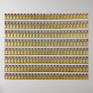 Póster Aceite de cáscara de la cal en las botellas de