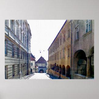 Póster Acercamiento de la puerta de piedra en Zagreb