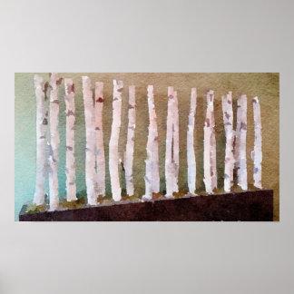 Póster Acuarela abstracta de los árboles de abedul