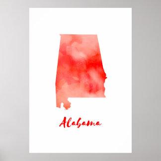 Póster Acuarela Alabama Estados Unidos