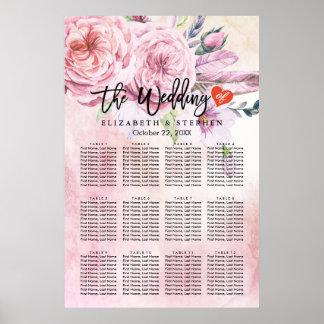 Póster Acuarela de la carta del asiento del boda floral y