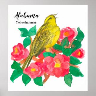 Póster Acuarela rosada de las camelias de Alabama