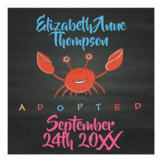 Póster Adopción adoptada del cangrejo - fecha conocida de