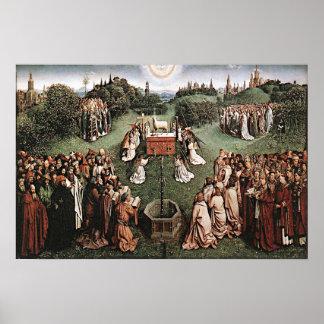 Póster Adoración del cordero Jan van Eyck 1429