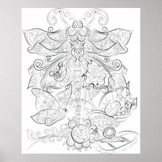 Poster adulto del colorante del dibujo de la mosca póster