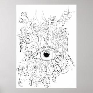 Poster adulto del colorante del dibujo del ojo de póster