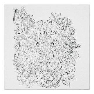 Poster adulto del colorante del dibujo del tigre