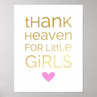 Póster Agradezca el cielo por niñas - rosa - poster