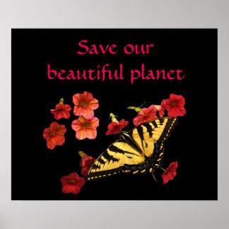 Póster Ahorre nuestra mariposa del planeta en el poster