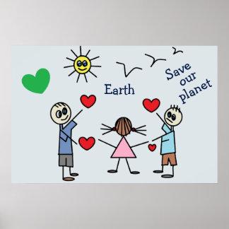 Póster Ahorre nuestro mensaje lindo de la paz del amor de
