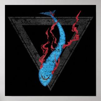 Póster ahorre nuestro triángulo de los tiburones SOS