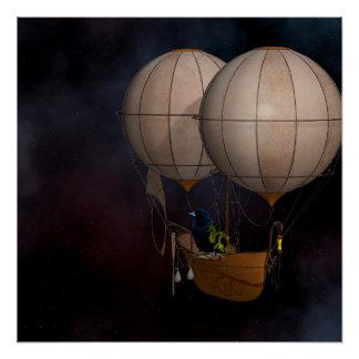 Póster Aire caliente Baloon de Steampunk