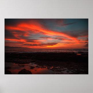 Póster Ajuste crepuscular de la puesta del sol tropical