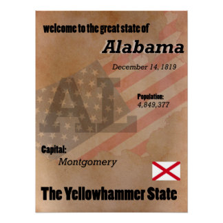 Póster Alabama la obra clásica del estado de Yellowhammer