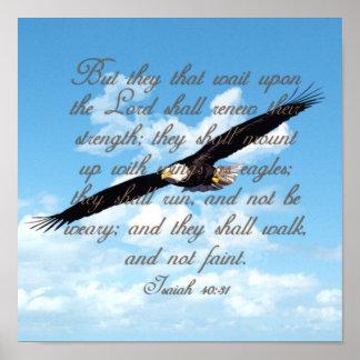 Póster Alas como Eagles, biblia del cristiano del 40:31