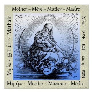Póster Albrecht Dürer Mother & Child on Crescent Moon
