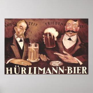 Poster alemán Hurlimann del arte del Pub de la