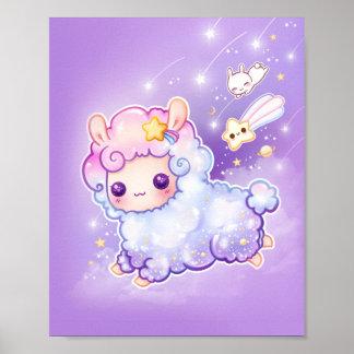Póster Alpaca linda del chibi con la estrella fugaz del