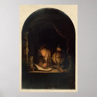 Póster Alquimista del filósofo en el laboratorio