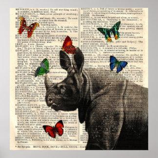 Poster alterado de las mariposas del rinoceronte d