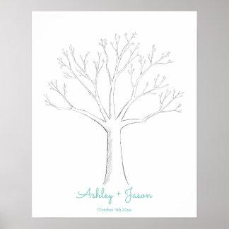 Póster Alternativa del guestbook del boda del árbol de la