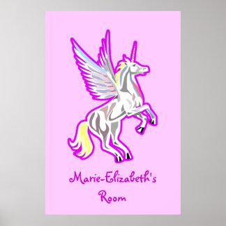 Póster Alzar el poster del ángel de guarda del unicornio