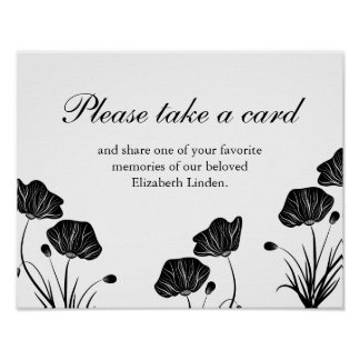 Póster Amapolas - tome una tarjeta - memorias de la parte