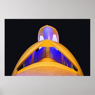 Póster Amarillo, azul y cielo nocturno
