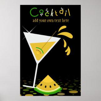 Poster amarillo del cóctel de Martini de la sandía Póster