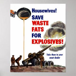 Póster ¡Amas de casa! ¡Ahorre las grasas inútiles para
