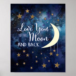 Póster Ámele a la luna y al poster trasero