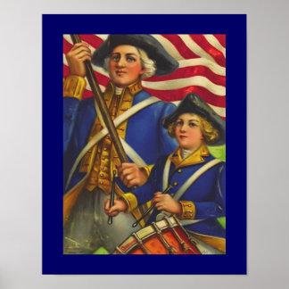 Poster americano temprano del arte de los soldados