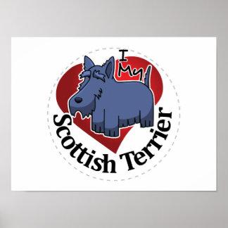 Póster Amo a mis escoceses divertidos y lindos adorables