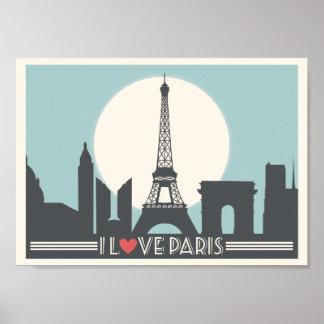 Póster Amo el poster del vintage de París