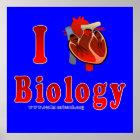 Póster Amo la biología (azul)
