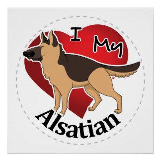 Póster Amo mi perro Alsatian divertido y lindo adorable
