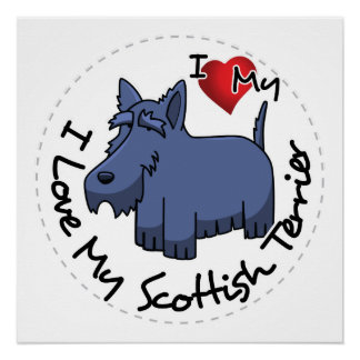 Póster Amo mi perro escocés de Terrier