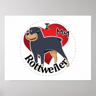 Póster Amo mi Rottweiler divertido y lindo adorable feliz