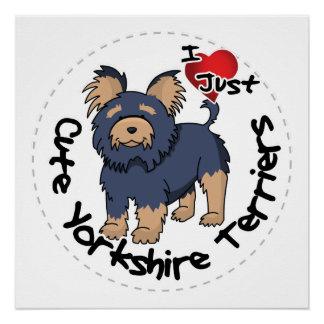 Póster Amo mi Yorkshire Terrier divertido y lindo feliz