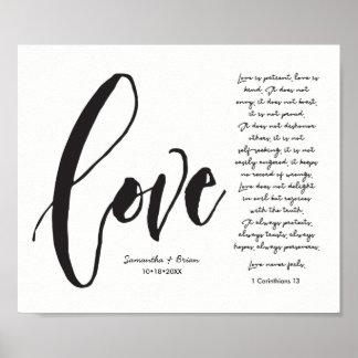 Póster Amor, 1 corazón. 13, nombre de los pares,