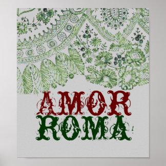 Póster Amor Roma con el cordón verde
