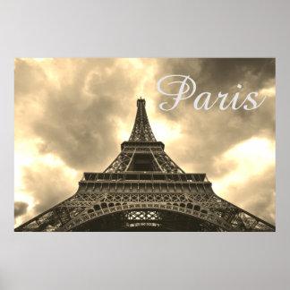 Póster Amor romántico de París de la torre Eiffel de la